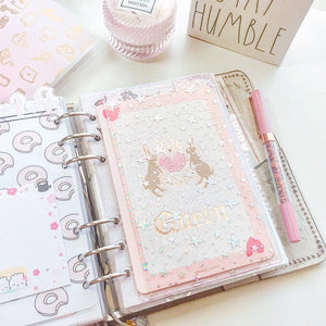 JD25 - B6 Rings (Kikki K) - Blush Pink Dashboards with Scalloped Corner Pocket