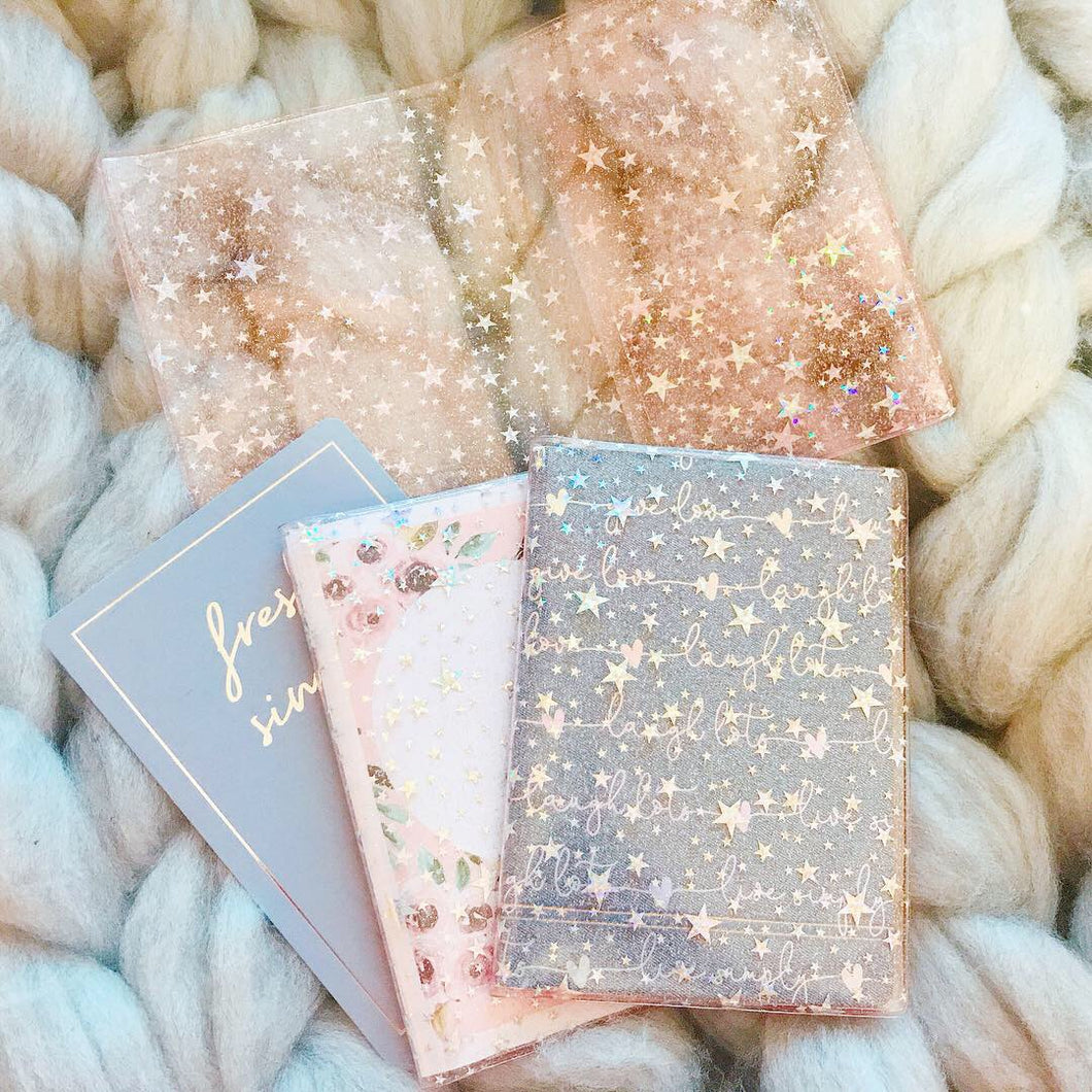 JD31 -  A6 TN - New Blush Pink Star Glitter Dashboard with Scalloped Back pocket