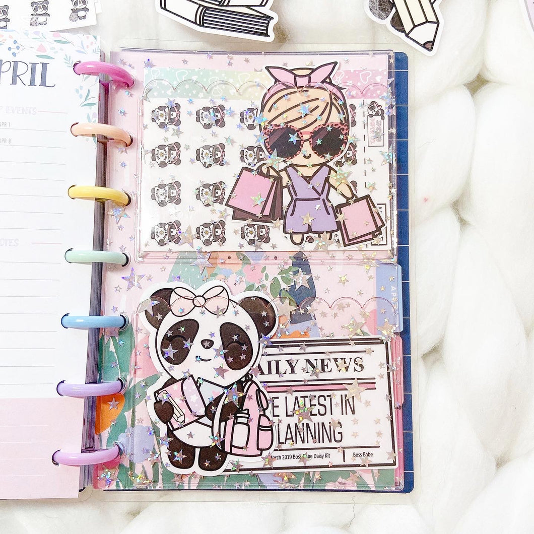 JD56 - Mini Happy Planner - Blush Pink Star Jelly dashboards with two scalloped pockets