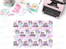 Load image into Gallery viewer, Sleepy Girl Vellum - Full Sheet in A4 size - Hand drawn kawaii girl with Eye shade
