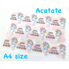 Load image into Gallery viewer, Sleepy Girl Acetate - Full Sheet in A4 size - Hand drawn kawaii girl with Eye shade