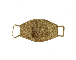 Gold Brocade Lace Face Mask