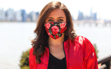 Load image into Gallery viewer, Red Rose Face Mask (Black Background)