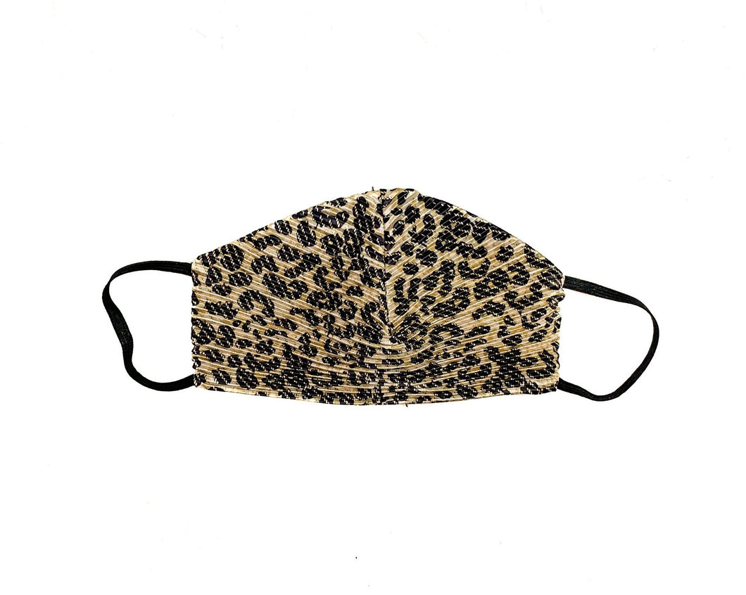 Rouged Metallic Leopard Face Mask