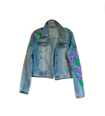 Hand Painted Floral Jean Jacket