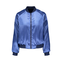 Load image into Gallery viewer, Blue Pansy Reversible Bomber Jacket