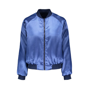 Blue Pansy Reversible Bomber Jacket
