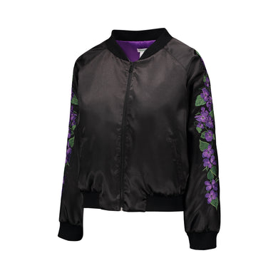 Violet Embroidered Reversible Bomber Jacket