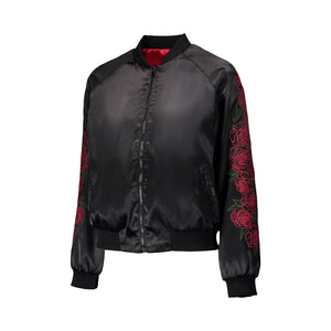 Red Rose Embroidered Reversible Bomber Jacket