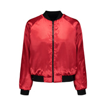 Load image into Gallery viewer, Red Rose Embroidered Reversible Bomber Jacket