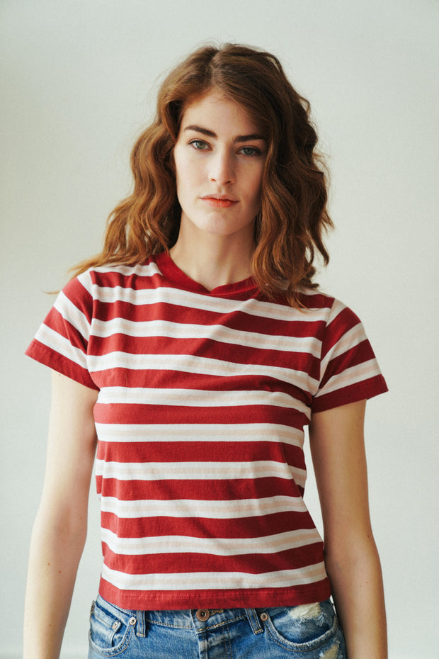 Stripe Crew Tee Currant
