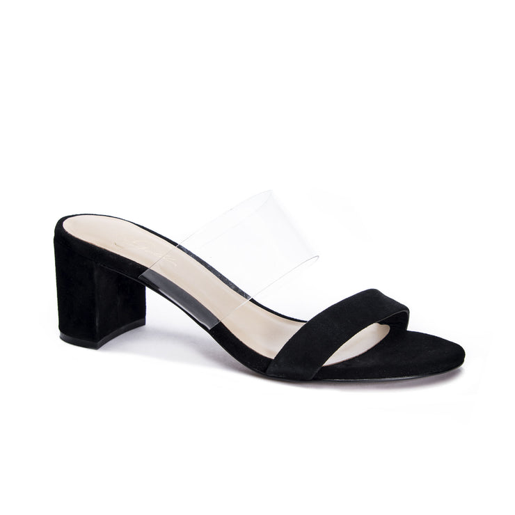 black heel, summer heel, sandal, slide