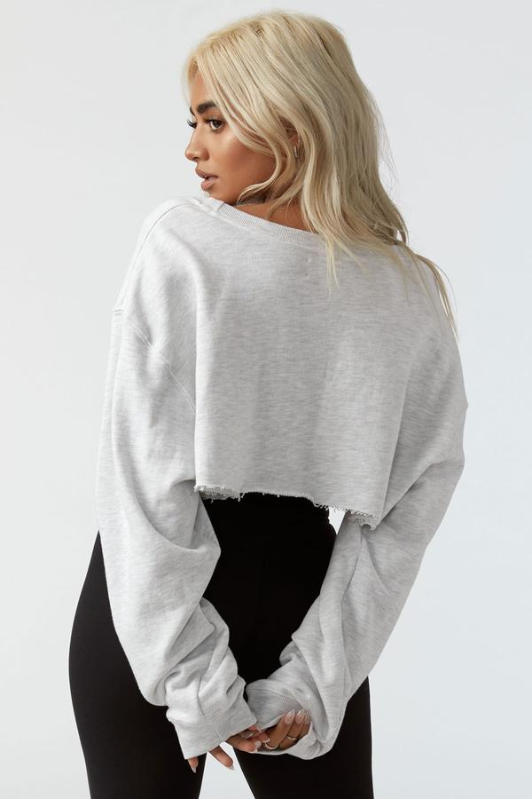 Cut Off Sweatshirt Pearl Grey