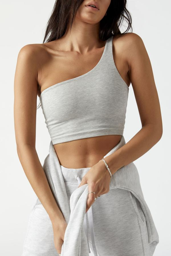 Single Strap Crop Pearl Grey