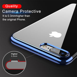 Luxury Plated Clear Silicon Cover For iPhone 8 7 Plus Transparent Capinhas