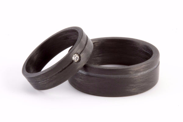 Set of two carbon fiber round wedding bands. Unique and modern black rings. (00147) - Rosler Rings