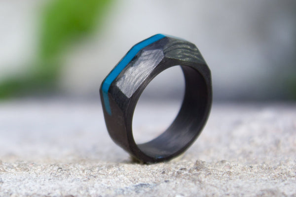 Men's carbon fiber ring. Faceted geometric black and turquoise wedding band. (00141) - Rosler Rings
