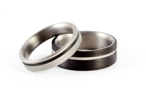 Set of two carbon fiber & titanium wedding bands. Modern black rings. (00321) - Rosler Rings