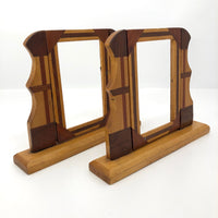 Handmade Wooden Inlay Swinging Tabletop Picture Frames-A Pair