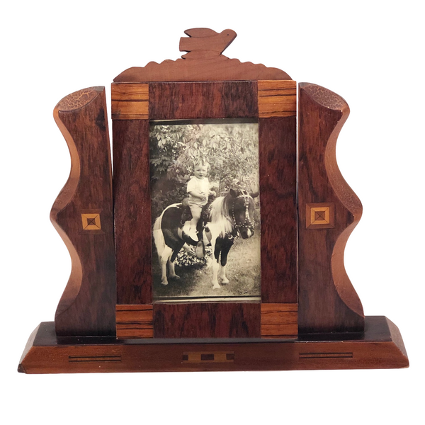 Handmade Wooden Inlay Swivel Picture Frame with Bird on Top