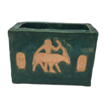 Teal Green Egyptian-themed Slab Ceramic Vessel