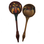 "Swedish Antique Hand-painted Wooden ""Love Spoons"" - A Pair"