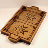 Tramp Art Matchstick and Inlaid Wood Tray with Star Pattern