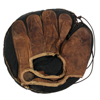 Black and Brown Leather Antique Button Back Catcher's Mitt