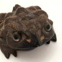 Hand Carved Cryptomeria (Japanese Cedar) Wood Horny Toad
