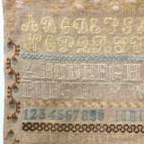 Large English Woolen Sampler with Alphabets, Darning Patterns, and Deer