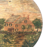 Antique American Folk Art Painting of Pink Farmhouse on Wooden Plate