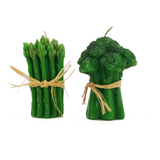 Vintage Asparagus and Broccoli Shaped Green Candles