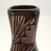 Sioux Native American Brown Pottery Vase by George Kills Pretty Enemy