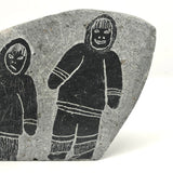 Double-sided Inuit Soapstone Carving with Figures and Eagle