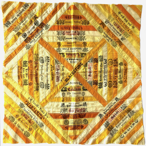 SOLD (for JULIA) - Antique Cigar Silk Quilt with 47 Different Cigar Ribbons