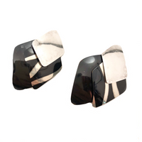 Sterling Silver and Black Vintage Sucherman Modular Earrings