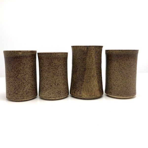 Hand-thrown Earthy Stoneware Tumblers - Set of 4