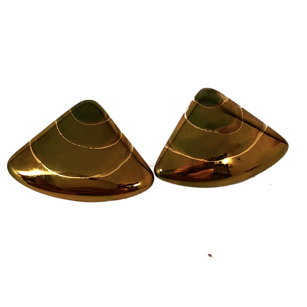 Triangular Copper and Black Enamel Vintage Pierced Earrings