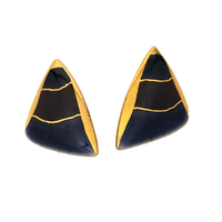 Triangular Blue, Purple and Gold Enamel Clip Earrings
