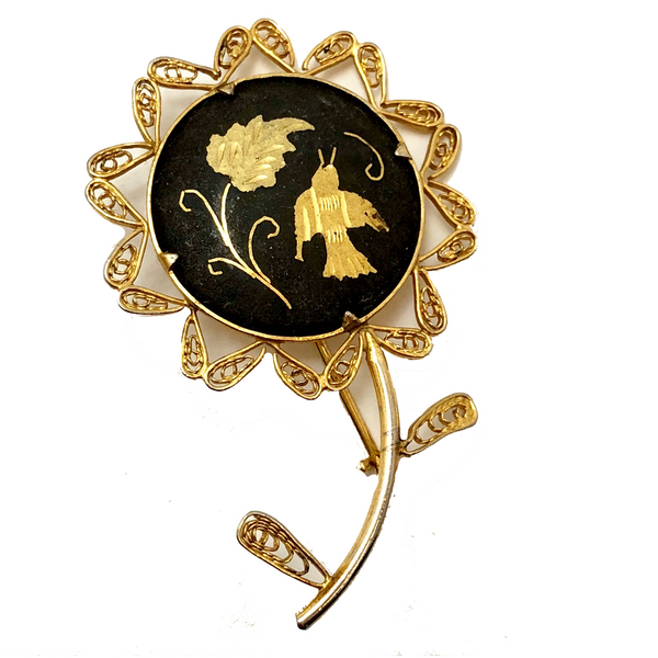 Lovely Gold and Black Damascene Flower Shaped Pin with Filagree and Bird and Leaf Design