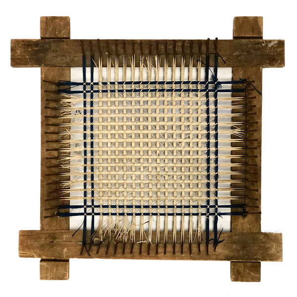 Handmade Wooden Flat Loom with Partial Weaving