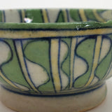 Antique Green and White Patterned, Tin Glazed Ceramic Bowl