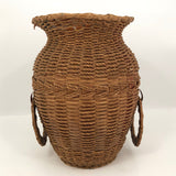 Large Penobscot Splint Ash and Sweetgrass Handled Basket Vase Presumed by Flo Shay
