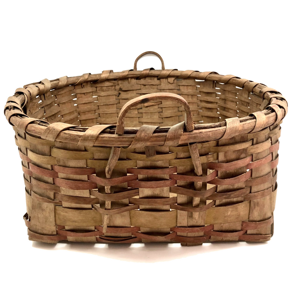 Large Antique Painted Ash Splint Work Basket with Notched Bentwood Handles