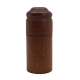 Turned Cylindrical Wooden Box with Dark Finish and Rounded Lid