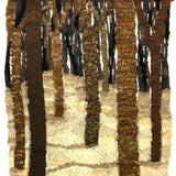 Signed Vintage Handwoven Wool Wall Hanging of Trees in Snow