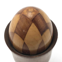 Fancy Old Czech Darning Egg, Inlaid Wood