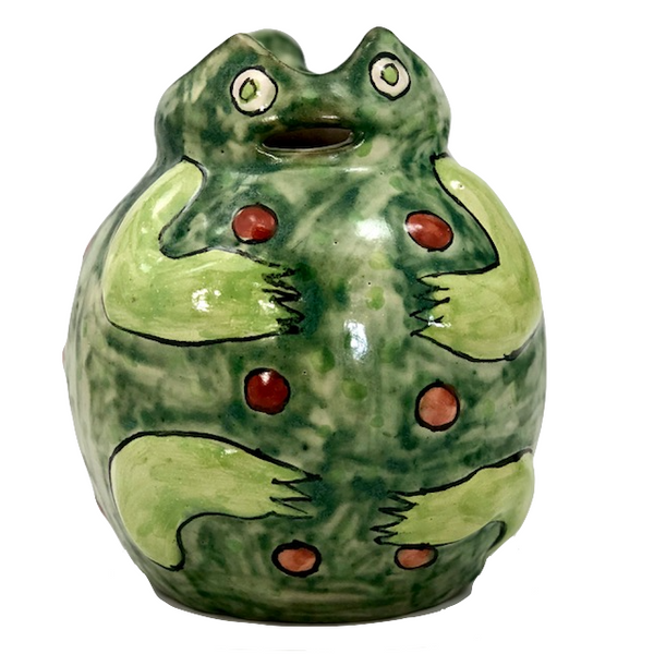 Happy Vintage Mexican Talavera Frog Shaped Pitcher