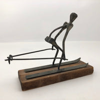 "Mid-Century Modern ""Nail Art"" Skiier on Wooden Base"