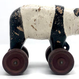Composition Panda on Red Wheels Pull Toy, Presumed Hubley